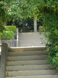 階段を自転車を持って上る